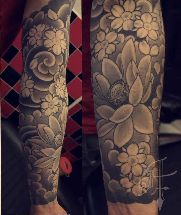 71da62b0a69a3 grey cherry blossom tattoo sleeve background | View More Tattoos Pictures  Under: Japanese Tattoos