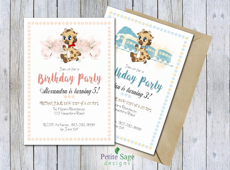 Giraffe Birthday Party Invitation, Printable Animal Cartoon ...