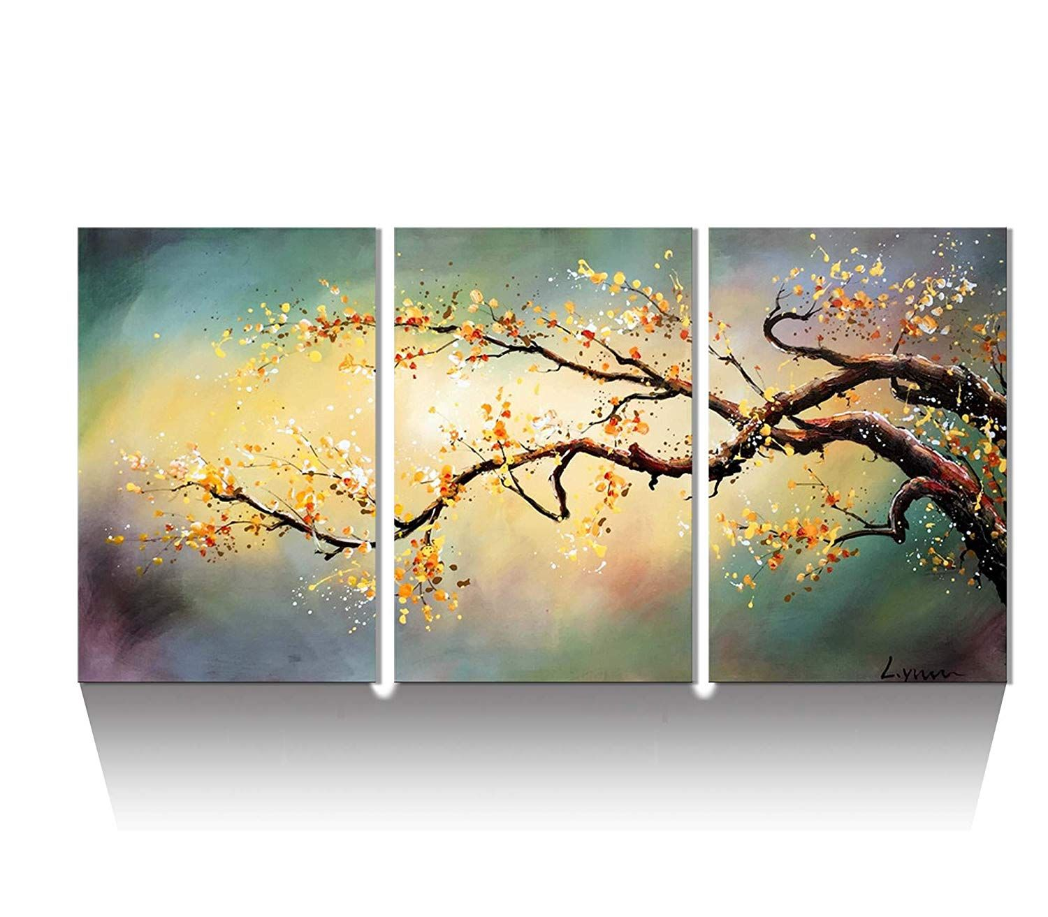 Artland Modern 100 Hand Painted Flower Oil Painting On Canvas Yellow Plum Blossom 3 Piec Modern Wall Art Canvas Abstract Canvas Wall Art Multi Canvas Painting