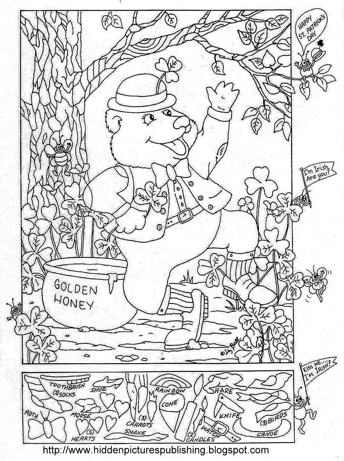 St Patrick S Day Hidden Picture Puzzle Coloring Page