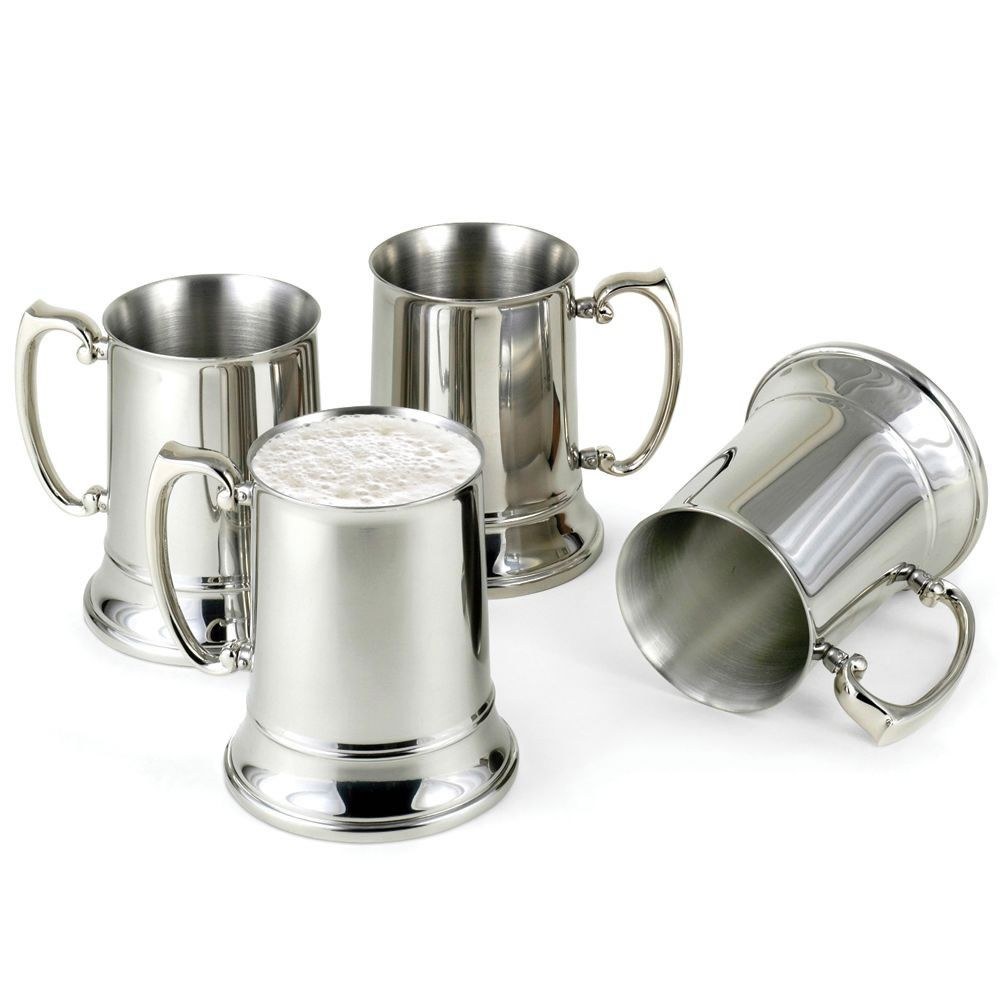 "The Cold Maintaining Stainless Steel Beer Steins - Hammacher Schlemmer - ""These stainless steel mugs live up to the promise - drinks stay cold much longer than traditional drinkware."""