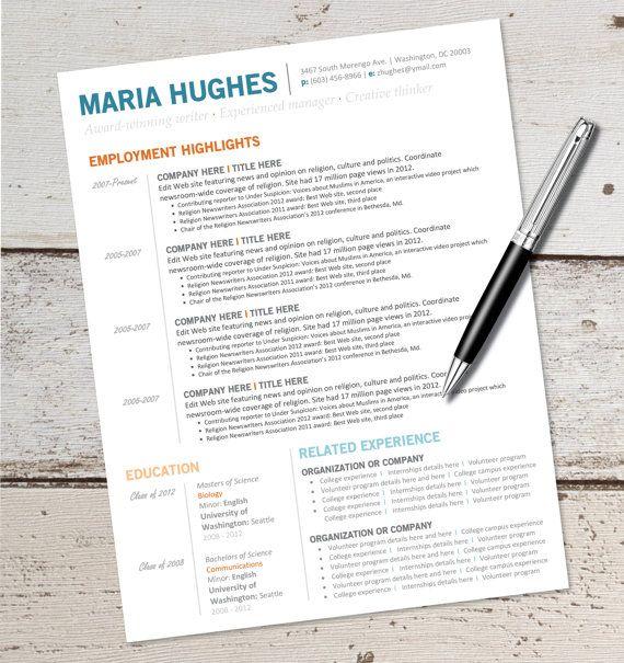 instant download - resume design template