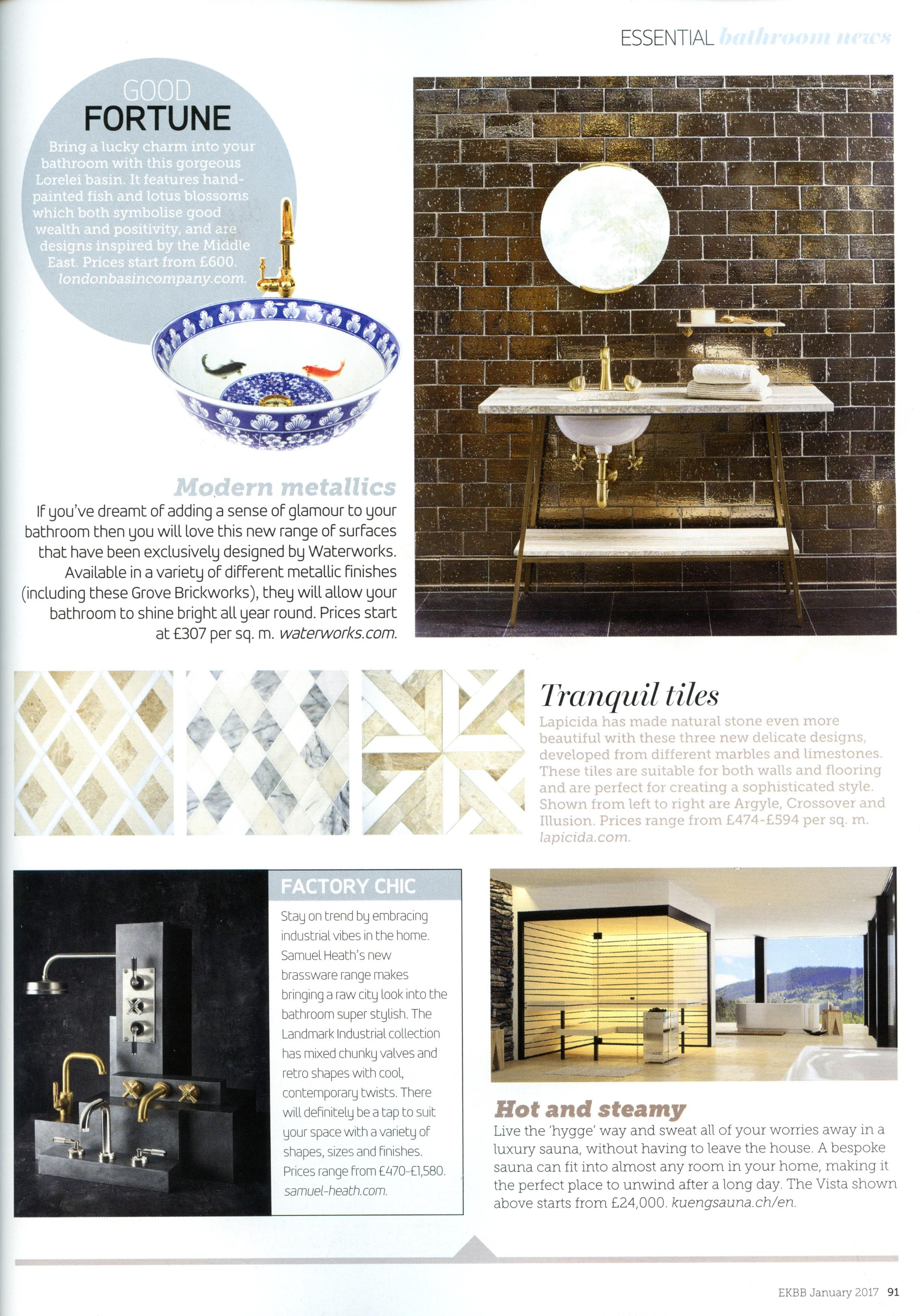 KitchensThe beautiful Lorelei basin from the London Basin Company  http  . Essential Kitchen And Bathroom Business Magazine. Home Design Ideas