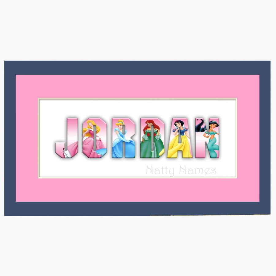 Disney+Princess+Custom+Name+Sign+in+Pink++Framed+by+nattynames,+$ ...