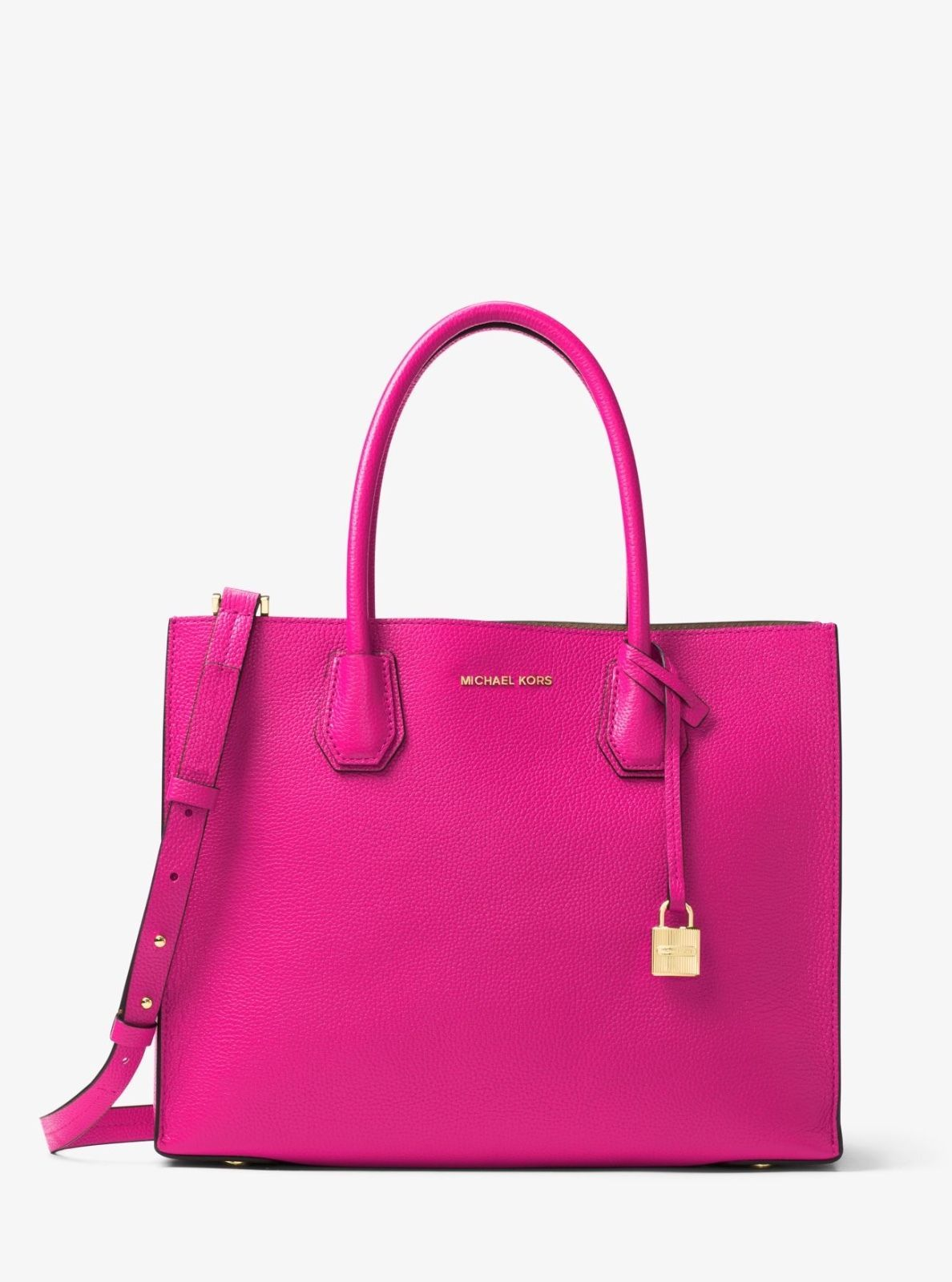 Michael Kors Mercer Large Convertible Raspberry Leather Tote Bag Ebay