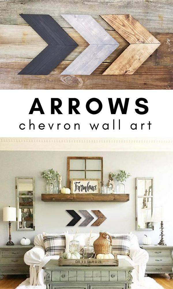 Wooden Chevron Arrows Wall Art Farmhouse Style Living Room