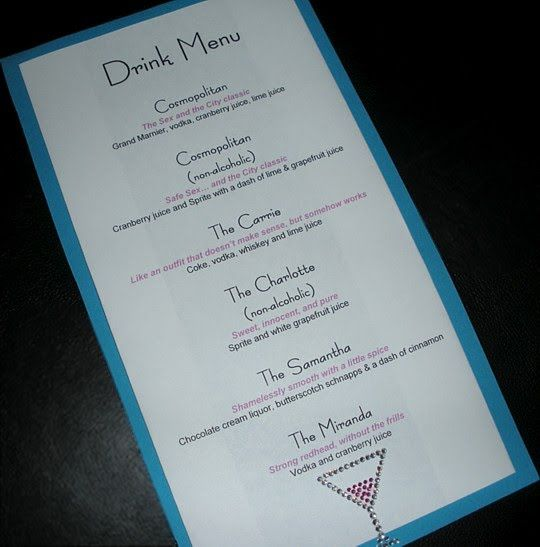 Sex and the city party menu