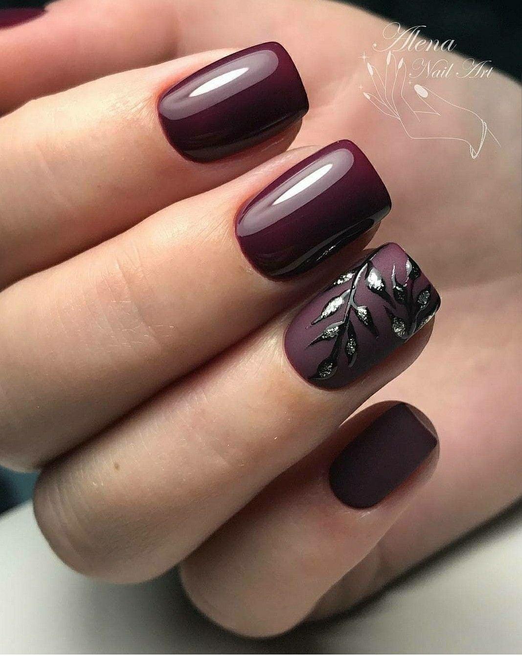 רעיון לעצמי Fall Gel Nails Burgundy Nails Burgundy Nail Designs