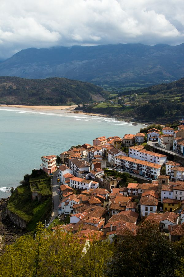 Lastres, Asturias, Spain - behind it there's the La Griega beach really visible