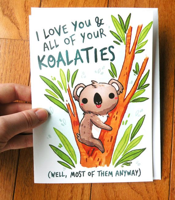Funny Koala Card Thank You Card Anniversary Card Buy It At Www Michiscribbles Etsy Com Funny Anniversary Cards Funny Birthday Cards Valentines Day Card Funny