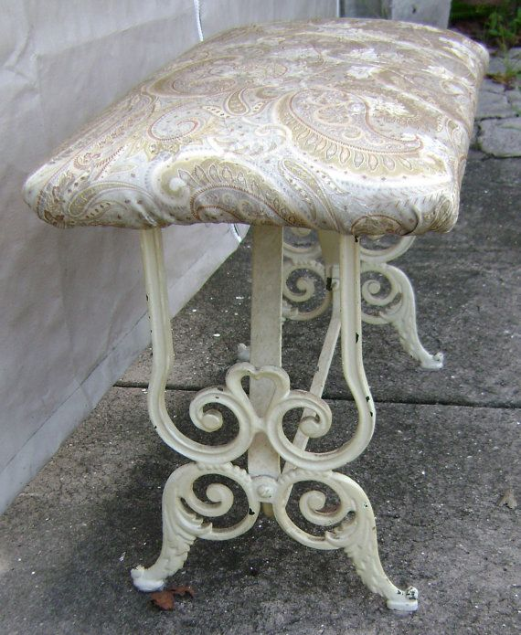 Victorian Vanity Bench Vintage Wrought Iron Piano Hall By Gauribux