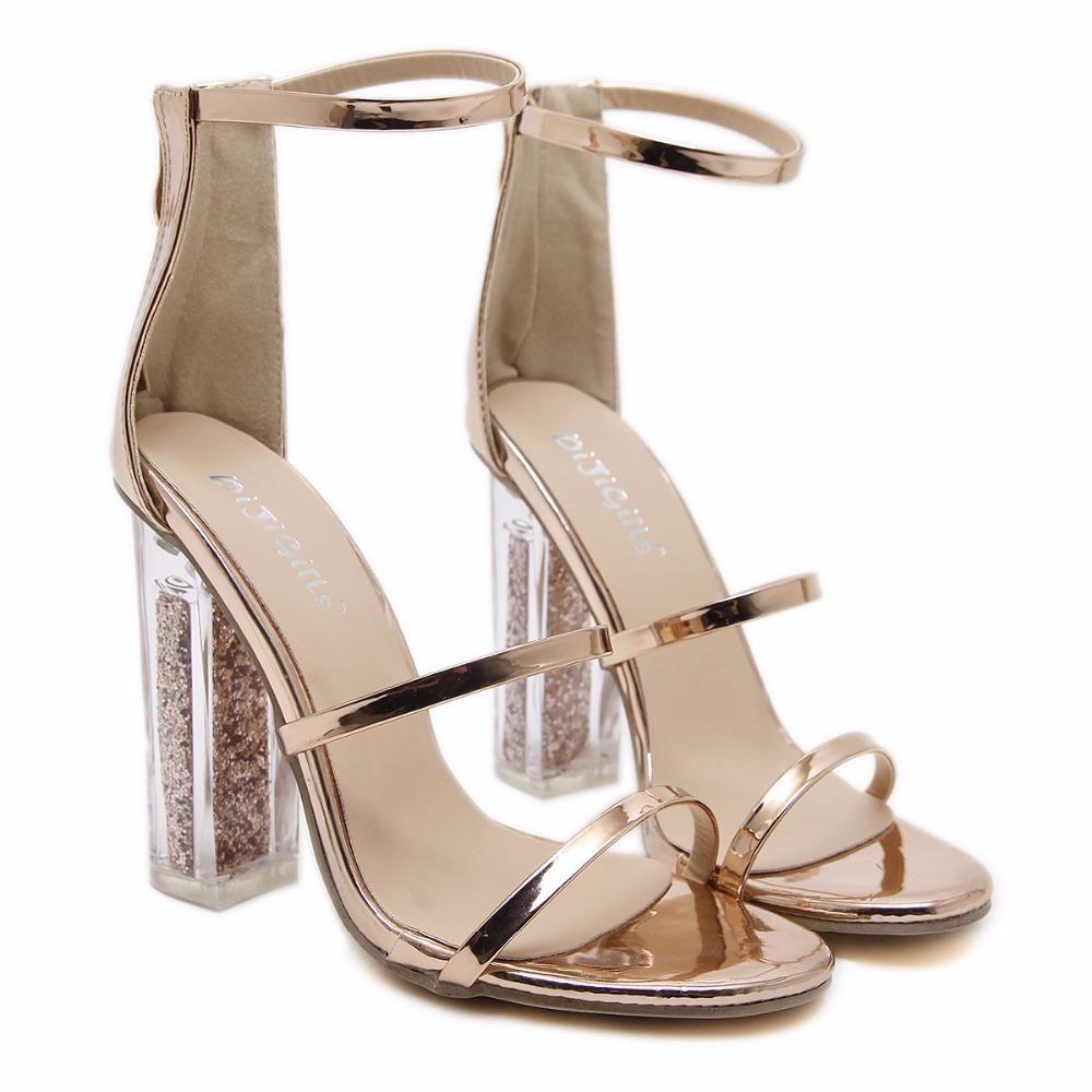 Jordyn Metallic Ankle Strap Clear Heel Sandals | Products in