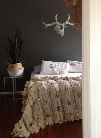vintage handira moroccan wedding blanket free postage in australia couverture de mariage. Black Bedroom Furniture Sets. Home Design Ideas