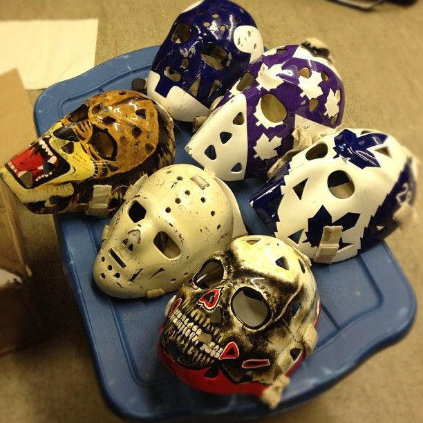 The Masks Of Our Our Great Canadian Goalie Racers Awesome Goalie Mask Goalie Goalie Pads