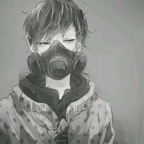 Monochrome Anime Boy With A Gas Mask Anime Monochrome Anime Boy Anime Gas Mask