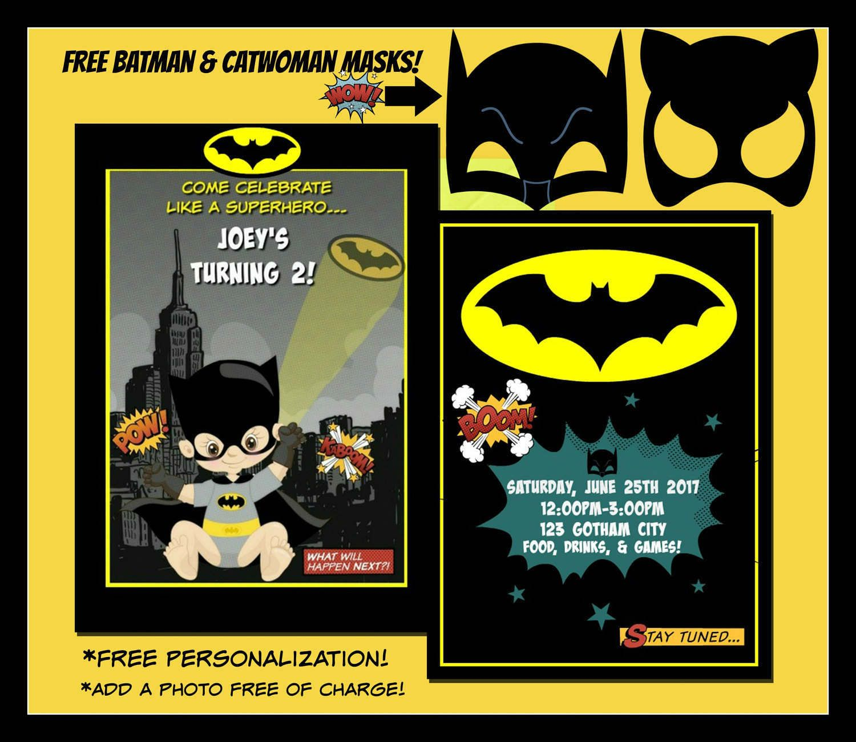 Personalized Batman Invitation Invite Birthday Party Decor By