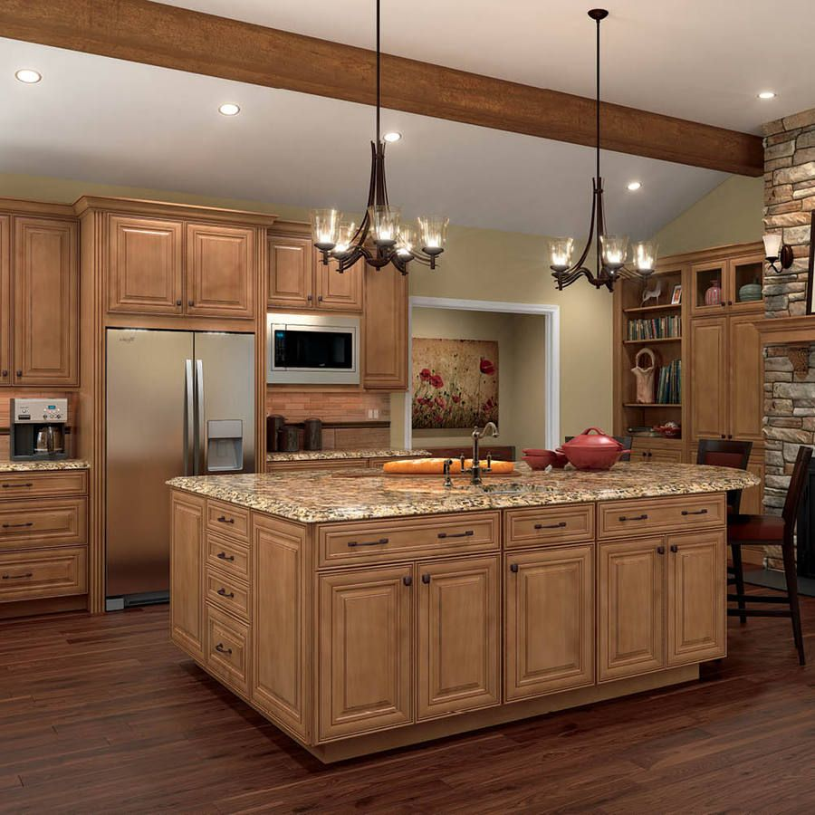This Look For The Kitchen   Wood Floor, Granite Counter, Charming Old World  Lights, Maple Cabinets, Stainless Steel Appliances