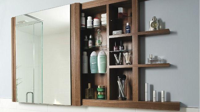Pharmacie miroir coulissant rangement mural salle de - Porte coulissante salle de bains ...