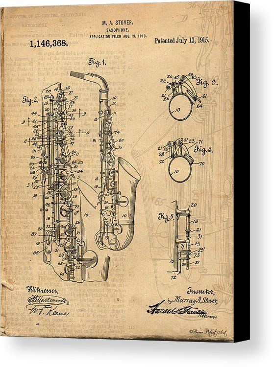 SAXOPHONE PATENT DRAWING ART CANVAS PRINT: Antique / Vintage Patent ...