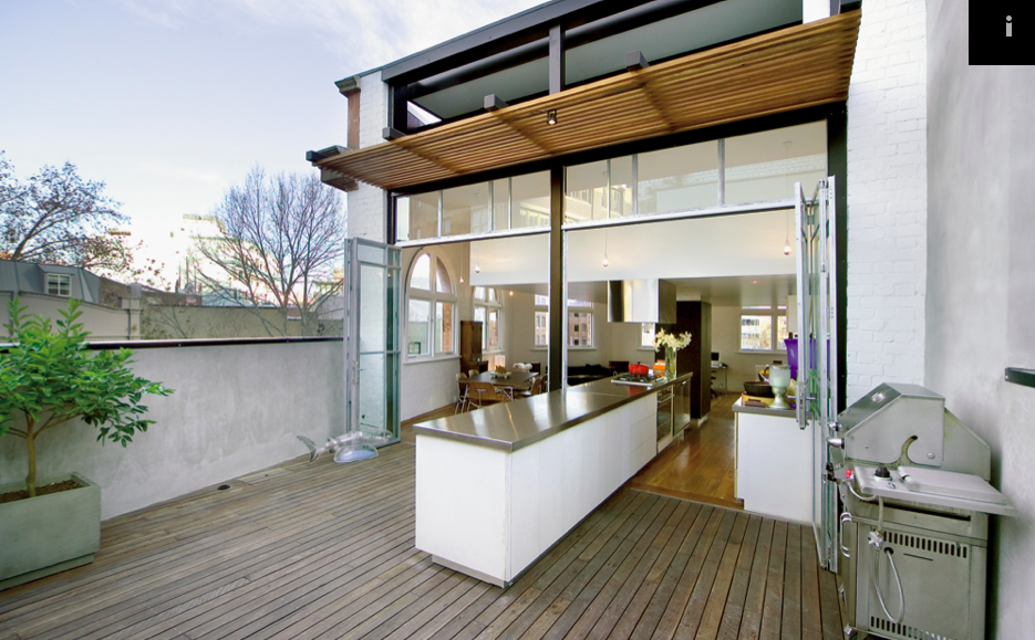 Split kitchen, which goes both indoors and outdoors! Cool ...