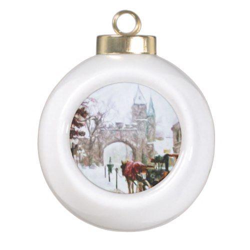 Winter In Quebec City By Shawna Mac Ceramic Ball Christmas Ornament Zazzle Com Christmas Ornaments Quebec City Holiday Festival