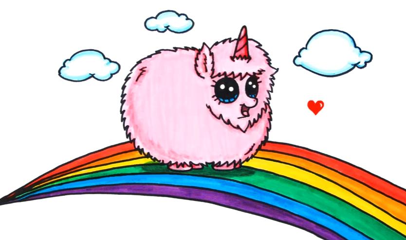 Pink Fluffy Unicorn Dancing On Rainbow Cizimler Cizim Kawaii