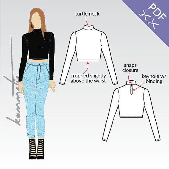 Crop top with long sleeves and turtle neck / Ladies by Kommatia19 ...