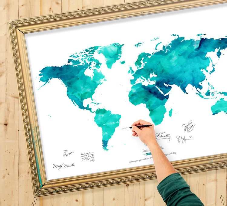 Wedding Guest Book Watercolor World Map Custom Color Add Quote