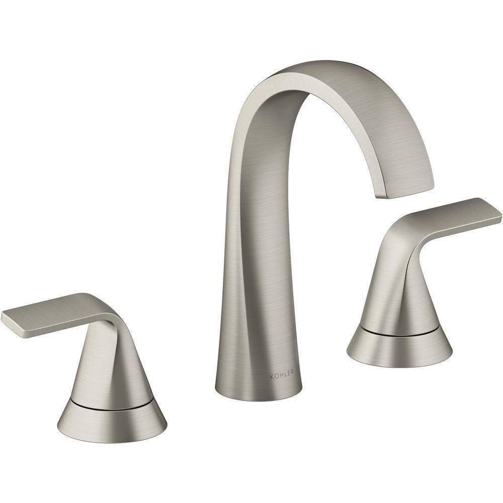 Kohler Cursiva 8 In Widespread 2 Handle Bathroom Faucet In Vibrant Brushed Nickel Bathroom Faucets Kohler Faucet Kohler single handle bathroom faucets