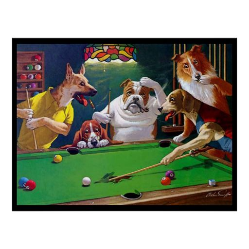 Dogs Playing Pool Jack The Ripper Poster Zazzle Com Dogs Playing Pool Dogs Playing Poker Animal Art