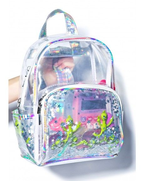 Mochila Mini Transparente Holográfica DF8750   Mini mochila