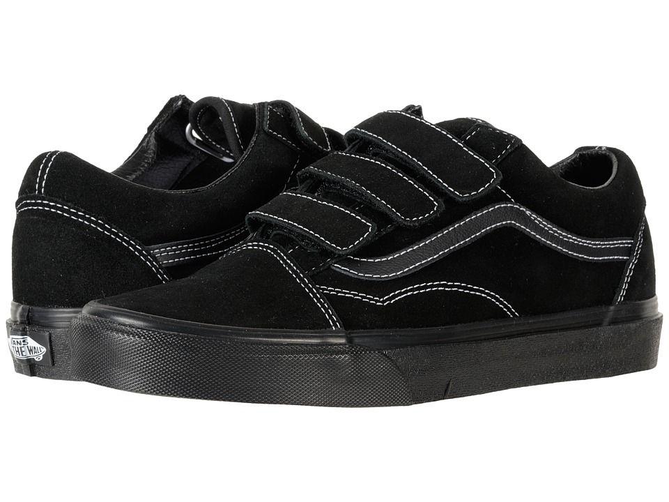 Vans Old Skool V Skate Shoes (White Stitch) SuedeBlack