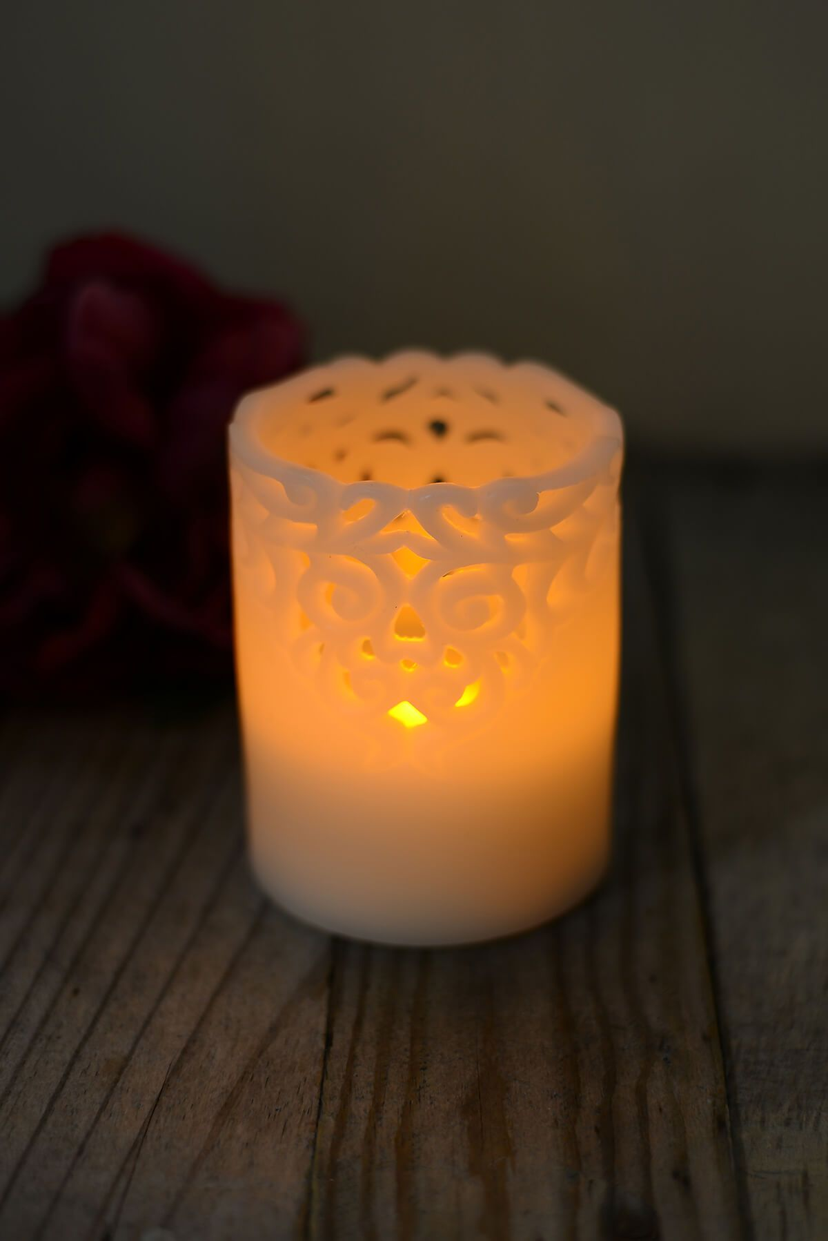 Flameless Led Battery Operated 4 Lace Wax Pillar Candle Candles
