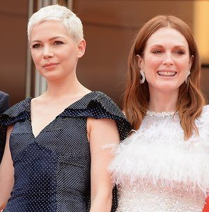 "(L-R) Actresses Michelle Williams and Julianne Moore attend the ""Wonderstruck"" screening during the 70th annual Cannes Film Festival at Palais des Festivals on May 18, 2017 in Cannes, France."
