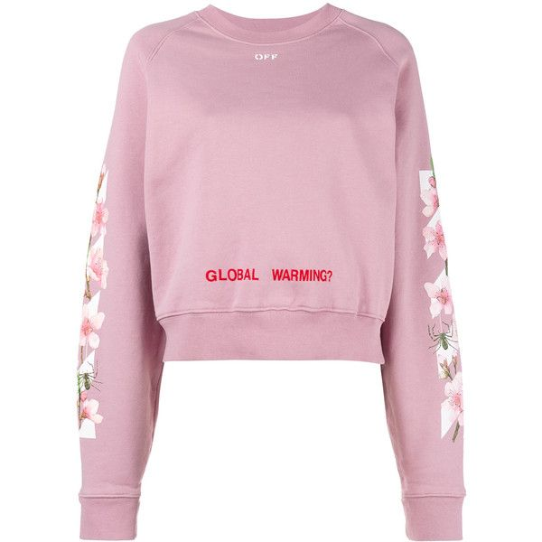 Off White Pink Floral Global Warming Sweatshirt 410 Liked On Polyvore Featuring Tops Off White Sweatshirt Pink Crewneck Sweatshirt Pink Long Sleeve Tops