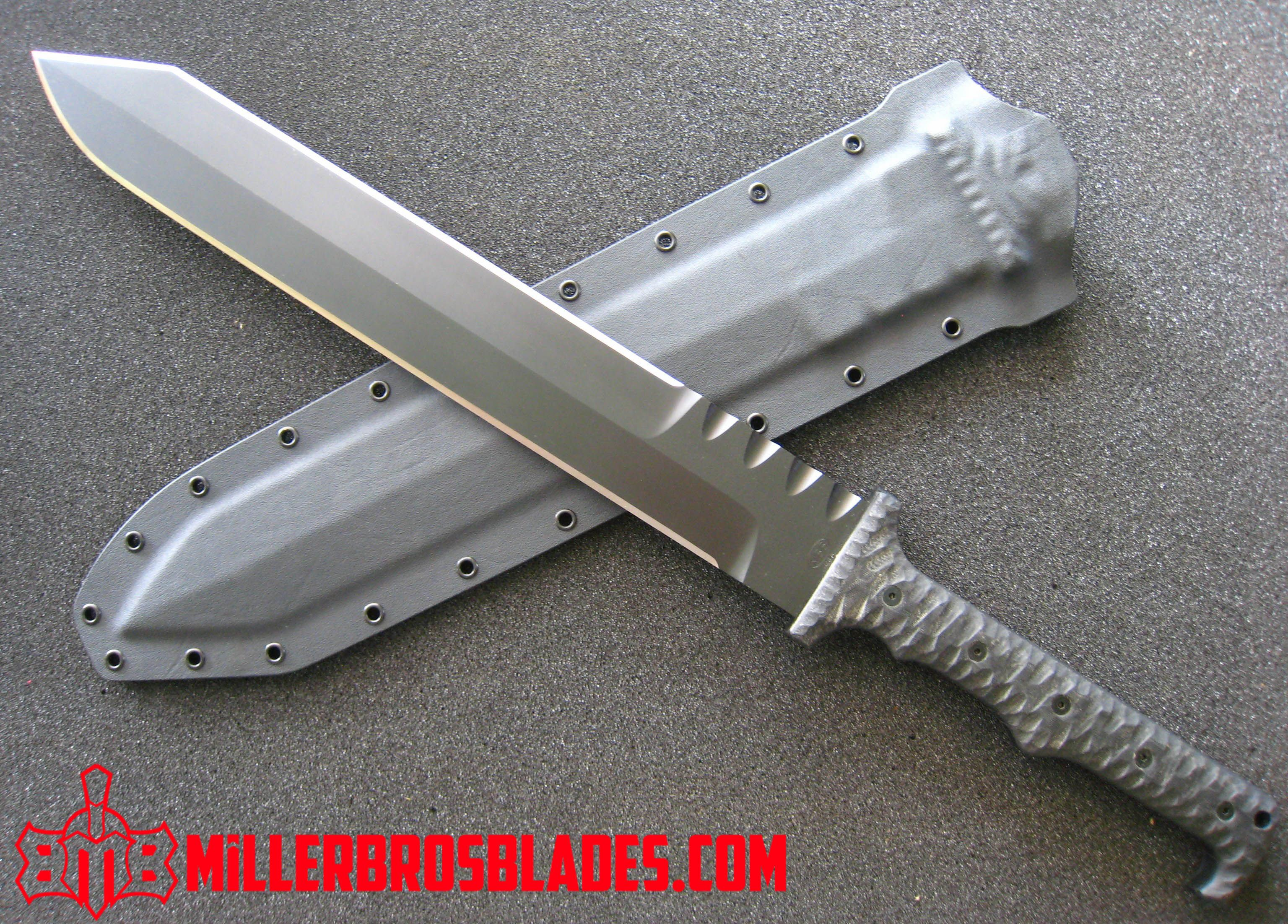 Miller Bros Blades M 2 Tactical Short Sword Modern Gladius This Model Is Available In Z Wear Pm Cpm 3v Cpm S35vn Z Tu Knife Custom Knives Tactical Swords