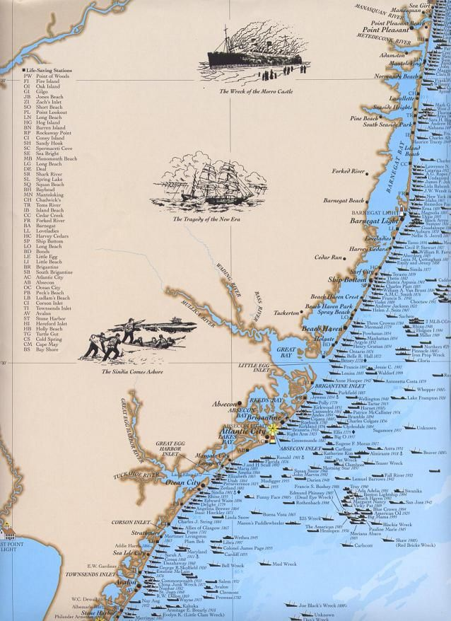 Nautical Art To Print Details About New Jersey Shipwreck Chart Great Nautical Art Print Map Nautical Art Map Print Art Prints