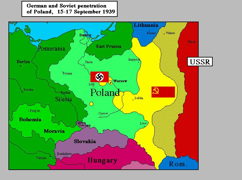 Map Of Germany And Russia.In September 1939 Poland Was Divided Between Germany And Russia