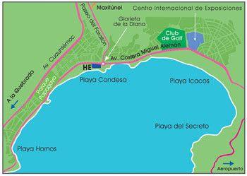 Image result for mapa de acapulco bri Pinterest Acapulco