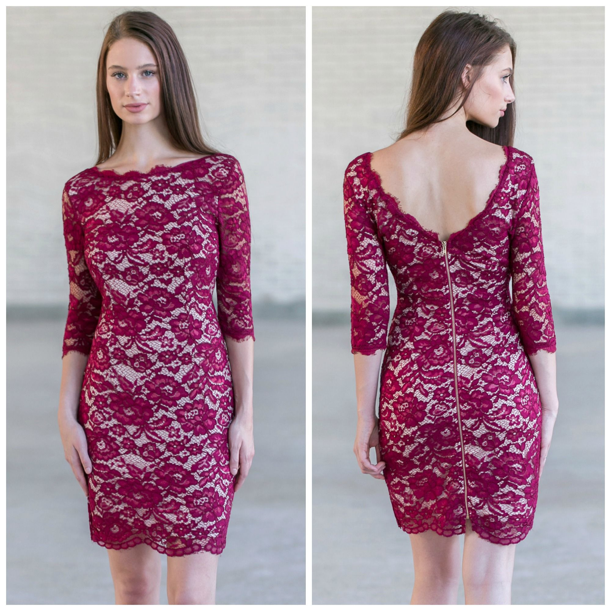 This wine lace dress looks perfect paired with beige heels
