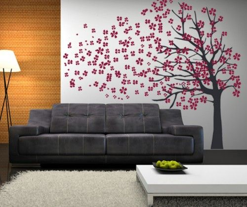 Wall art above door large vinyl wall art decal nature cherry blossom