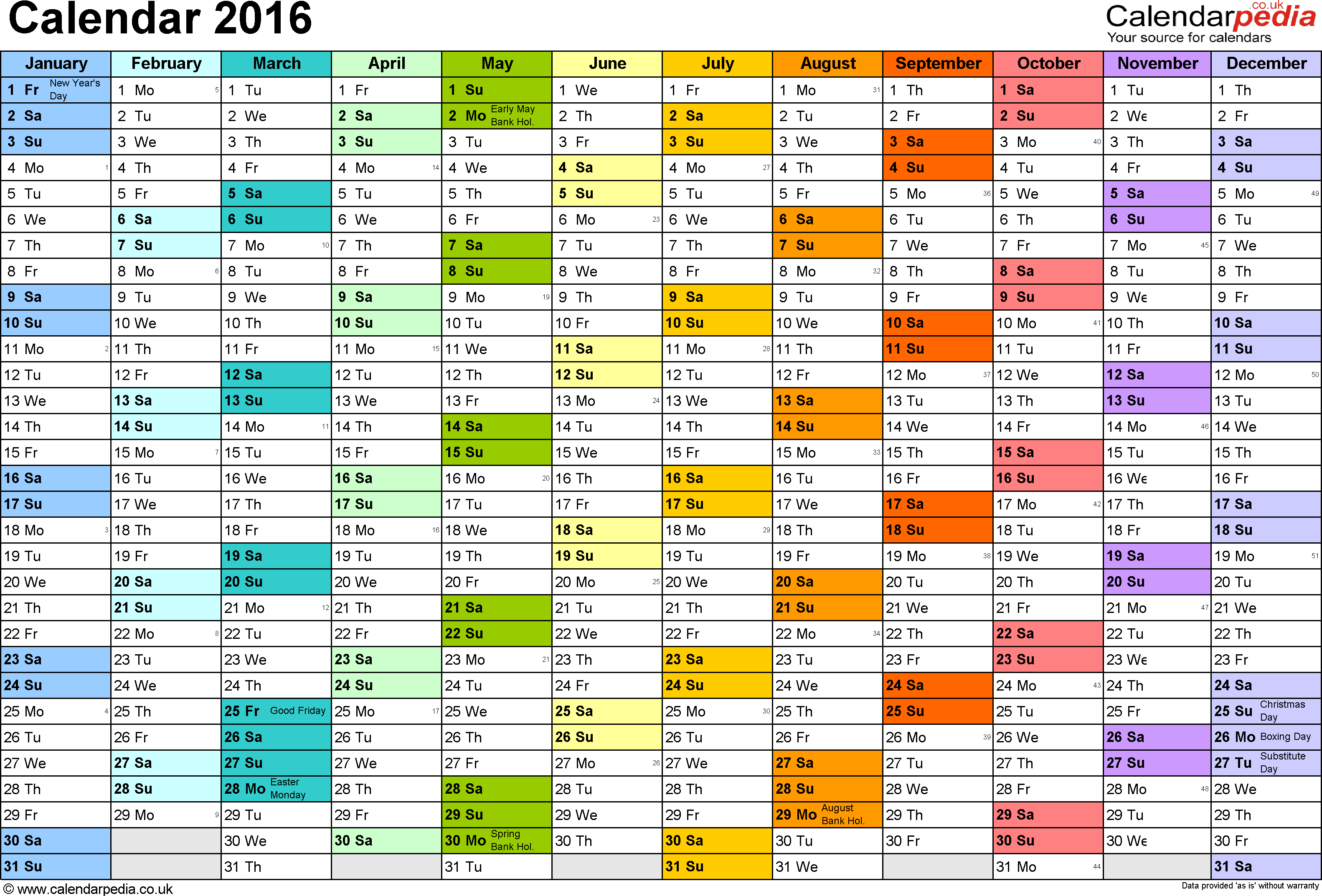 Template  Yearly Calendar  As Pdf Template Landscape