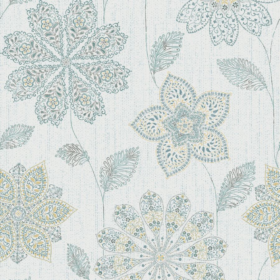 Brewster Wallcovering Peel and Stick Blue Vinyl Floral