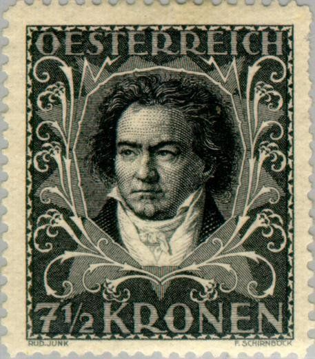 Stamp 3a 20ludwig 20von 20beethoven 20 1770 1827 20by 20august 20von 20kl C3 B6ber 20 Austria 20 Composers 20and 20musician Old Stamps Stamp Stamp Collecting
