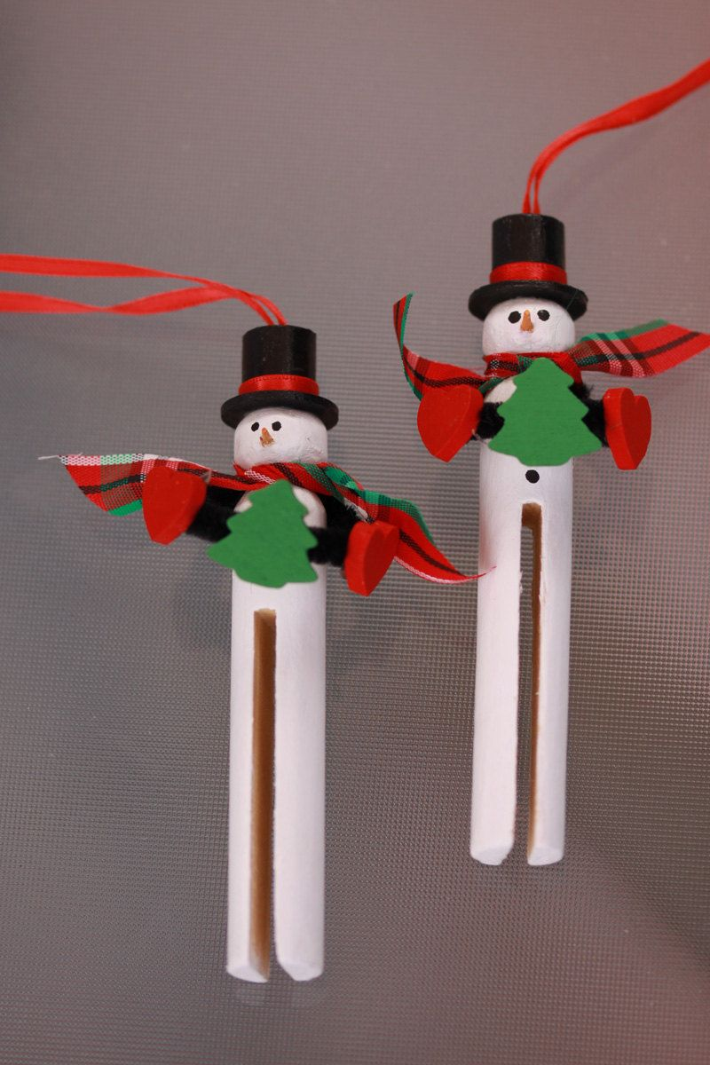 Wooden Clothespin Snowman Ornament - Handpainted | Wooden ...