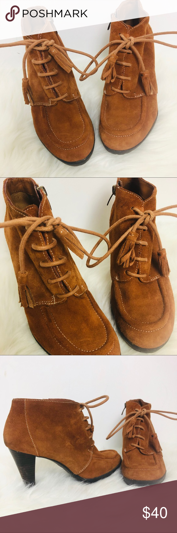 Anne Klein brown ankle boots lace up front S8.5M Annie Klein brown ankle boots zipper closure lace up front with tassels on laces suede very cute would look great with skinny jeans or a pair flare see photos for more details(S148) Anne Klein Shoes Ankle Boots & Booties #skinnyjeansandankleboots
