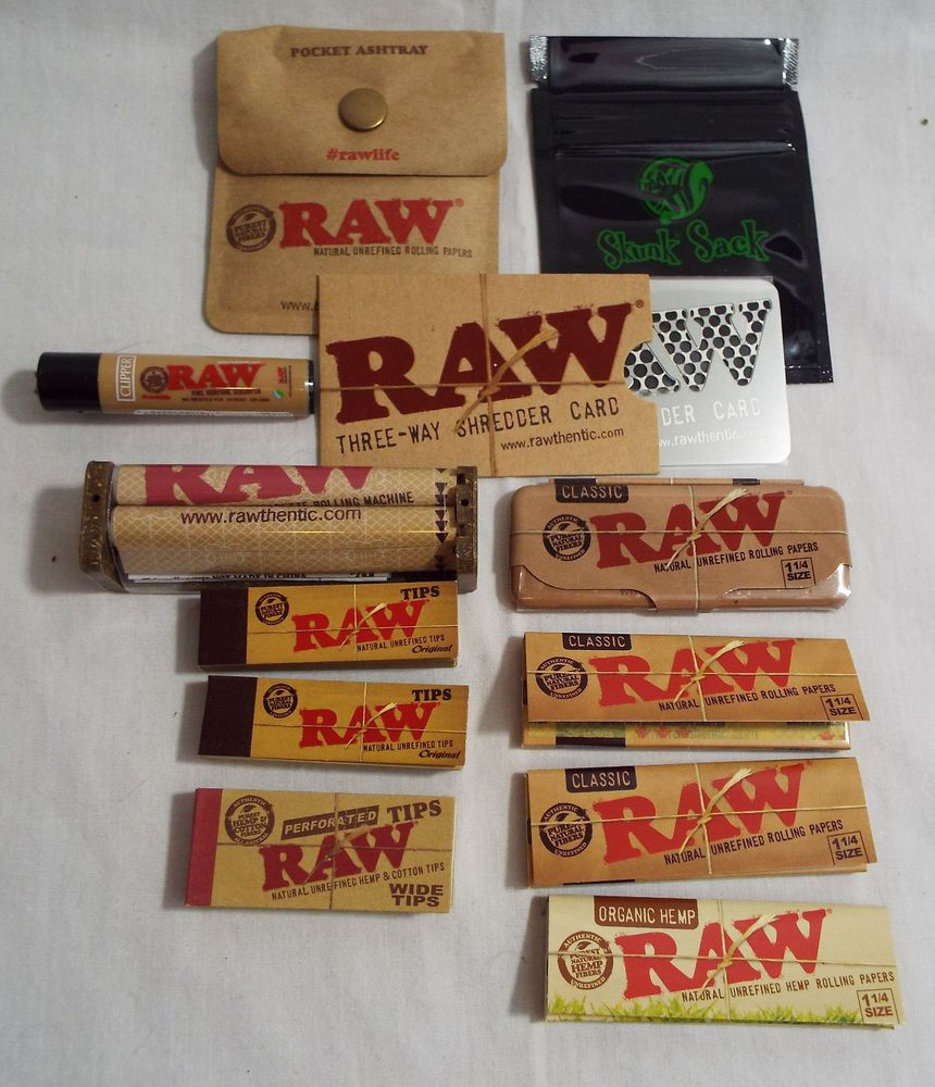 Raw Brand Set 12 Piece Set 79mm Paper Rolling Machine Tins Tips Bag 26 Paper Rolling Paper Rolls