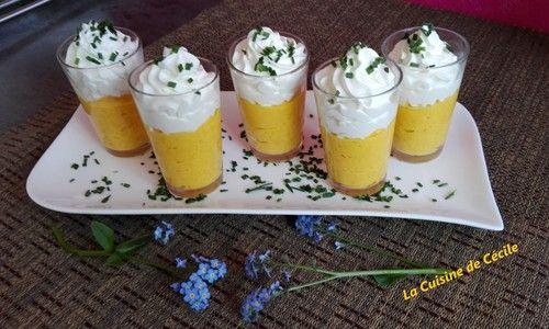 Verrines de crème de carottes et mousse de chèvre #verrinesapero