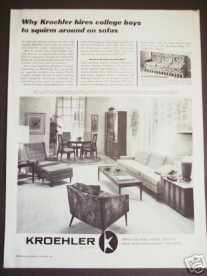 1963 KROEHER Furniture 60s Home DECOR Vintage Ad