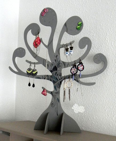 porte bijoux arbre gris de yusyus cr ations sur dawanda. Black Bedroom Furniture Sets. Home Design Ideas